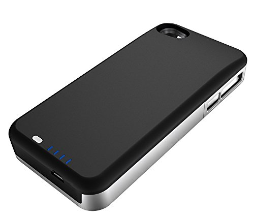 uNu Power DX PLUS External Protective Battery Case for iPhone 4S and 4 2400mAh - MFI Apple Certified (Matte Black/Sliver, Fits All Models iPhone 4S/4)