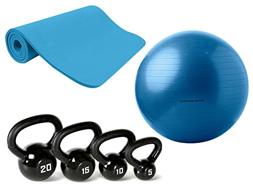 Gold's Gym 65cm Anti-Burst Exercise Body Ball, Gold's Gym 10mm Exercise Mat, and Marcy Kettlebell Set, Bundle