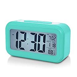 Battery Digital Alarm Clock for Bedroom, 4.5 LCD Display Bedside Alarm Clock with Snooze, Backlight, Night Light, Date and Temperature, Sleep Timer for for Heavy Sleepers, Elderly, Teens (Blue)
