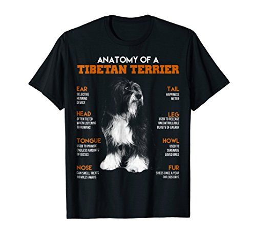 Anatomy Of A Tibetan Terrier Dogs T Shirt Funny Gift