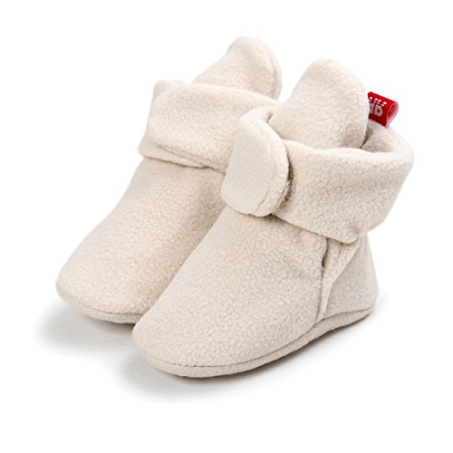 - Save Beautiful Baby Fleece Booties Newborn Infant Toddler Slippers Crib Shoes Warm Boots With Anti Slip Bottom First Walking Prewalker Shoes (6-12 Months, 1)