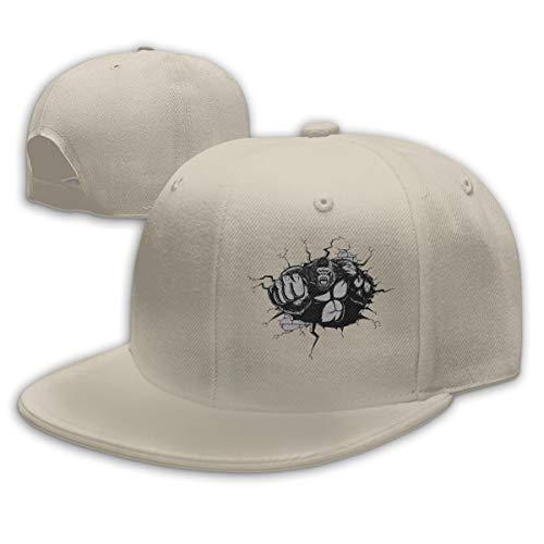 Adjustable Sports Plain Baseball Cap, Gorilla King Kong Punches Solid Twill Hat, Unisex ()