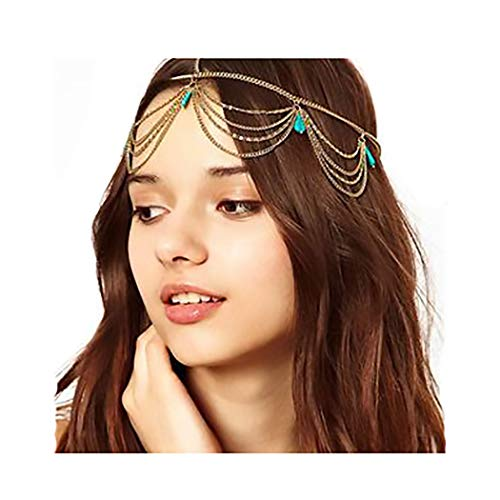 Campsis Gold Vintage Fashion Head Chain Turquoise Layering Indian Chains Boho Egyptian Fashion Pendant Headpieces for Women and Girls (Best Perfume For Indian Bride)