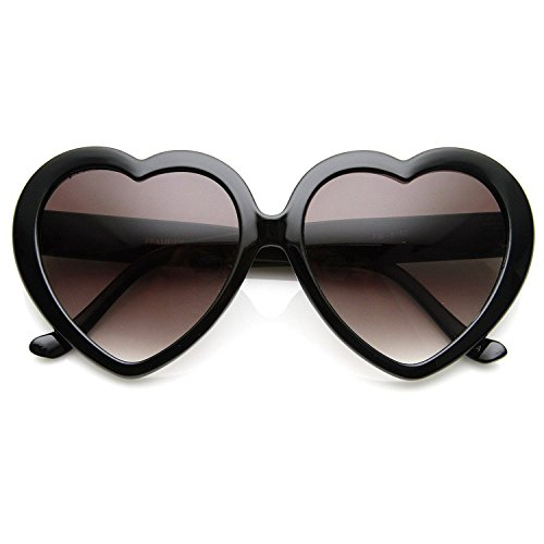 Cute Black Oversized Heart Shaped - Sunglasses Pretty