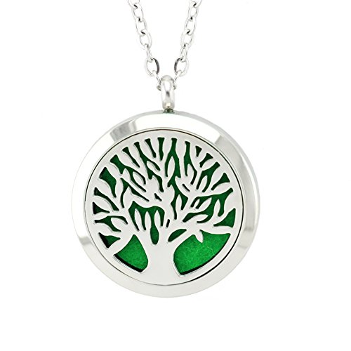 FANSING Jewelry Christmas Gift Tree of Life Jewelry Stainless Steel Aromatherapy Essential Oil Diffuser Necklace Locket Pendant with Refill Pads