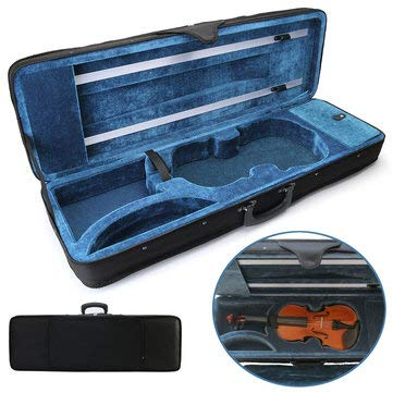 4/4 Full Size Oblong Shape Black Violin Carry Box Hard Case with Cushioning Adjustable Strap Parts - Hardware & Accessories Storage & Organization - 1 Pcs Violin Case(not included violin) + 2 Pcs -