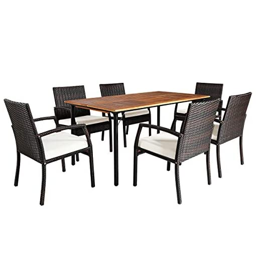 Garden and Outdoor Tangkula 7 Pieces Patio Dining Set, Acacia Wood Wicker Dining Furniture Set with Sturdy Steel Frame & Umbrella Hole… patio dining sets