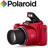 "50x Zoom Bridge Camera - SLR Style Digital Camera with Optical Zoom - Polaroid iX5038 18 Megapixel with 3"" Screen (Red)"