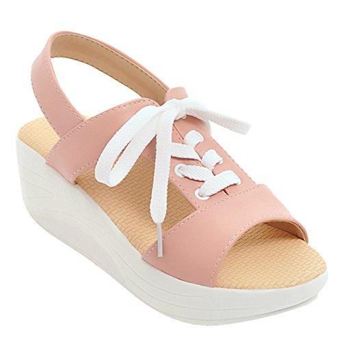 Lace Comfort Pink Womens Casual Peep Carolbar Fashion Up Toe Sandals Platform TqSOwTYtWd