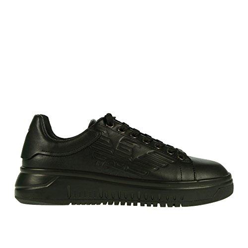 40 Pelle con Laterale in Armani Nera Logo Sneaker qFwt0
