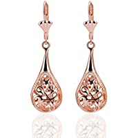 paweena 18K Rose Gold Filigree Teardrop Lever Back Drop Dangle Earrings L130