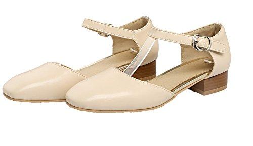 Flats Basso Ballet Beige Tirare VogueZone009 Chiusa Tacco Puro Luccichio Donna Punta FzxwRtq