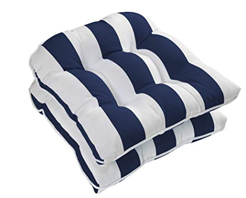 Ornavo Home Water Resistant Indoor/Outdoor Patio Decorative Stripe Tufted Wicker Chair Seat Cushion Pad - Set of 2 - Navy ()