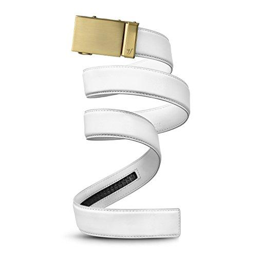 Mission Belt Men's Ratchet Belt - Gold 40 - Gold Buckle/White Leather, Custom (up to 56)