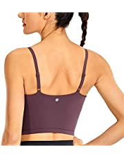 CRZ YOGA Women's Longline Yoga Bra Adjustable Straps Wirefree Padded Sports Bra Workout Crop Tank Tops