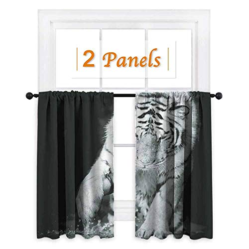 (maisi Tiger, Window Curtain Drape, Black and White Image of Large Cat Playing with Water Cool Animals Fun Hunter, for Party Decoration (W55 x L45 Inch) Black Light Grey )