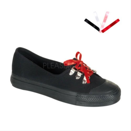 Womens D-Ring Corset Laceup Canvas Sneaker Black p24MBh