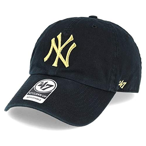 ('47 New York Yankees Brand Metallic Clean Up Slouch Fit Dad Hat (Black))