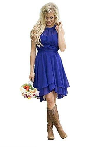 YinWen Women's Halter Short Chiffon Beach Bridesmaid Dresses Short Maid of Honor Gown Size 12 US Royal Blue