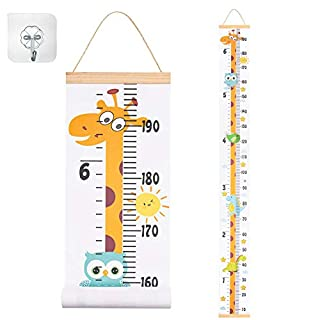 "JJGoo Baby Growth Height Chart Hanging Ruler Wall Decor for Kids, Canvas Removable Height Growth Chart 79"" x 7.9""(Giraffe)"