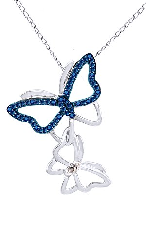 - Blue and White Natural Diamond Butterfly Pendant Necklace 14k White Gold Over Sterling Silver