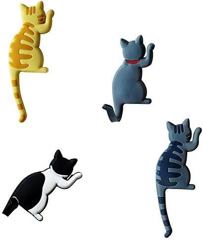 Yellow striped cat//Gray Yellow striped cat 4pcs Comidox Cute Multifunction Cat Magnetic Refrigerator Sticker Fridge Magnet Hanging Hook 2 in 1 Gray cat //Black white cat