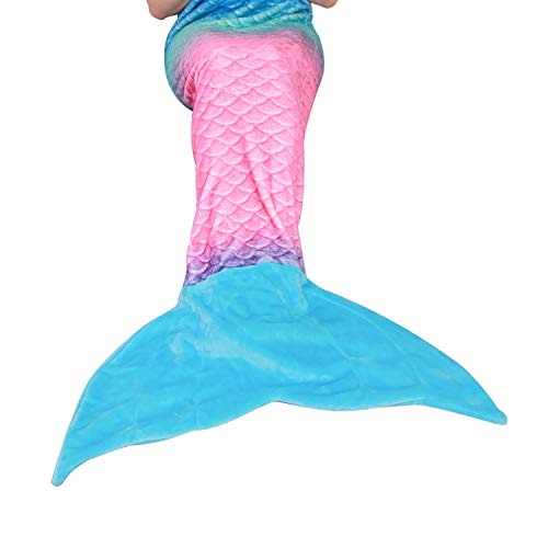 Mermaid Tail Blanket for Kids Teens Adults,Plush Soft Flannel Fleece All Seasons Sleeping Blanket,Rainbow Ombre Fish Scale Design Snuggle Blanket,Best Gifts for Girls,Women,25