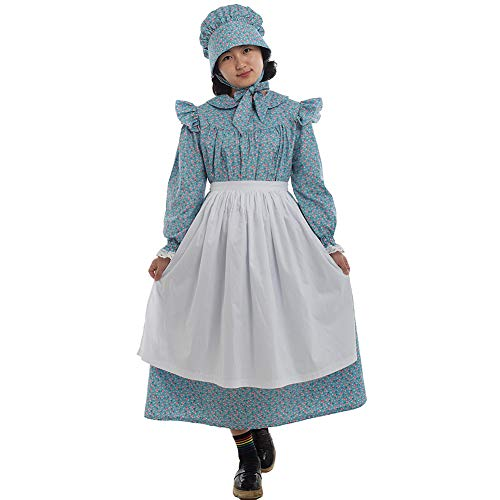 GRACEART Pioneer Girls Dress Colonial Prairie Costume 100% Cotton (6 colors option) (US-10, Blue)