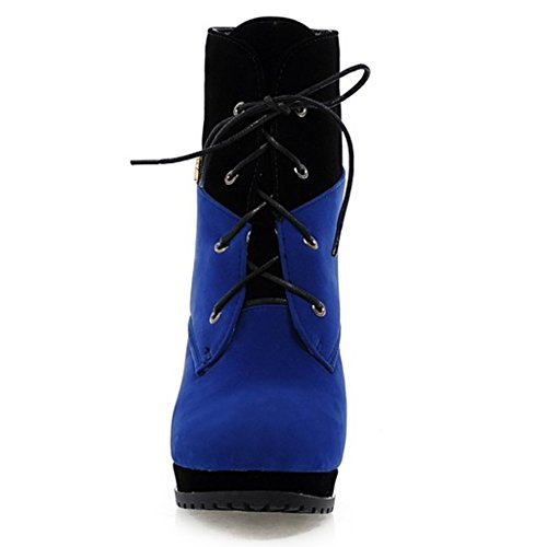 Ankel Platform LongFengMa Blue Lace Heel Up High Stiletto Women's Boots 0H0wtvxS