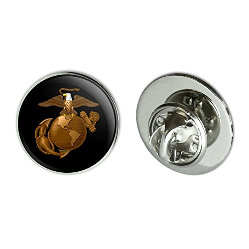 Marine Corps Hat Pin (Marine Corps USMC Golden Logo on Black Eagle Globe Anchor Officially Licensed 0.75
