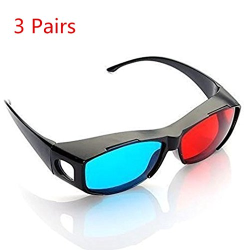 AThumb 3pcs Blue and Red 3D Eyeglasses Cyan Anaglyph Simple style 3D Glasses Extra Upgrade Style To Fit Over Prescription Glasses for Movies Games
