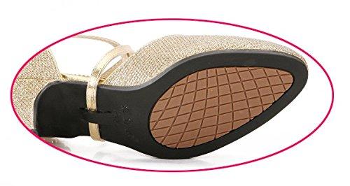 OCHENTA Femme Chaussure de Danse Hauteur de Talon 3.5cm 5.5cm au Choix Semelle Pour Intérieur Ou Extérieur Danse Latine Doré Extérieur 3.5CM