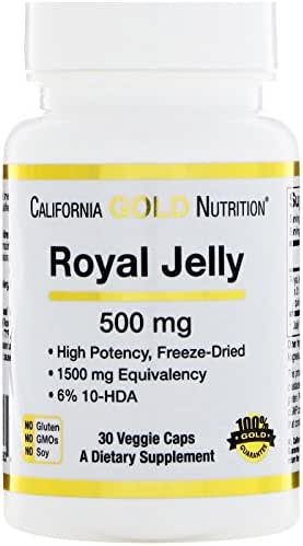 California Gold Nutrition Royal Jelly 500 mg 30 Veggie Caps, Milk-Free, Egg-Free, Fish Free, Gluten-Free, Peanut Free, Treenut Free, Shellfish Free, Salt-Free, Soy-Free, Sugar-Free, Vegetarian, CGN