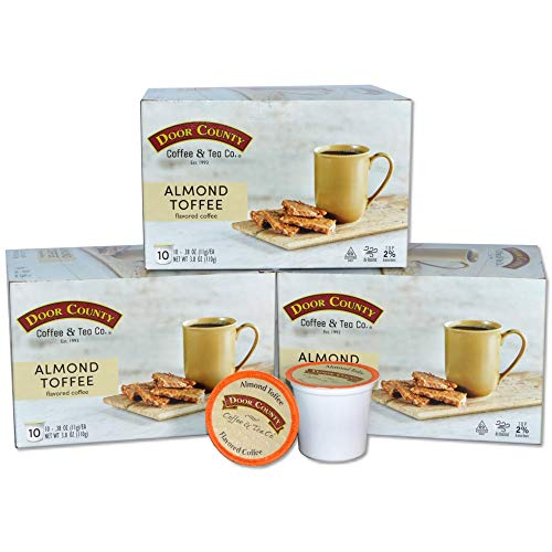 Door County Coffee, Single Serve Cups for Keurig Brewers, Almond Toffee Flavored Coffee, Medium Roast, Ground Coffee, 30 Count