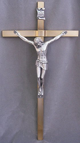 Crucifix with gold plated cross & silver plated corpus, 14inches. Made in Italy. by GSV001