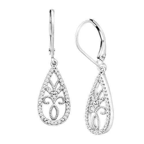 (1/5 ct Diamond Drop Earrings in Sterling Silver)