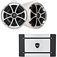 Wet Sounds ICON8-WX 8 White X-Mount Tower Speakers & Wet Sounds HT-2 600 Watt Amplifier