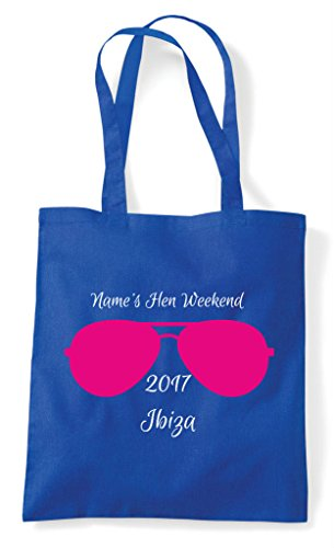Customised Party Blue Design Shopper Tote Sunglasses Do Personalised Bag Royal Hen 6UOqO
