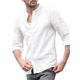 Men's Buttons Down Standing Collar T Shirt Casual Long Sleeve Top Shirt