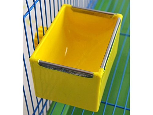Yunqir Suitable Bird Hanging Square Food Container Food Feeding Dish Water Seed Feeder Bowl for Parrot Finch Pigeons-Yellow