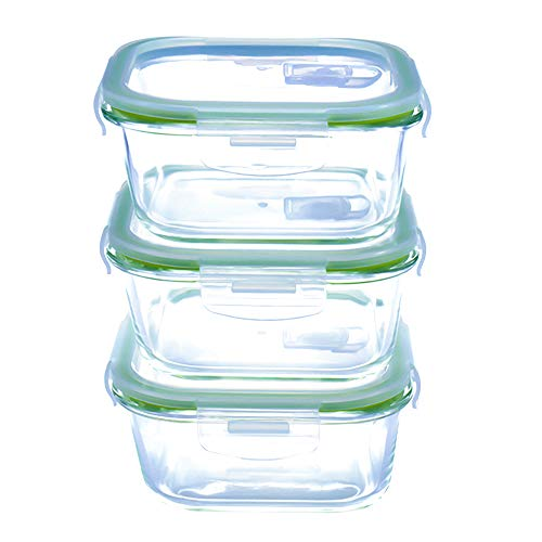 Microwave Square Glass Food Storage Containers - Oven & Freezer Safe - Airtight with Snap Locking Vented Lids - 3 Piece Set(27 oz) - BPA FREE