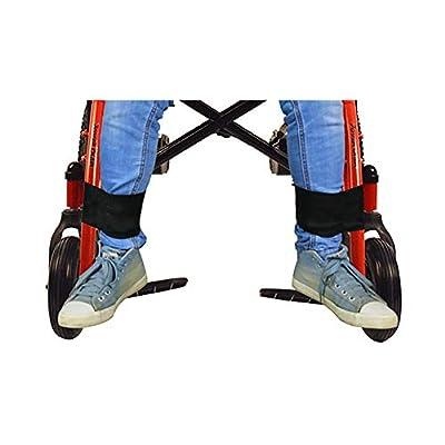 Fushida 2 PCS Seatbelt for Wheelchair, Safe Footrest Back Brace for Legs Support, Adjustable Magic Tape for Fixation on Walker,Durable Transport Foot Support Belt for Elderly Patient(Black, FYH011)