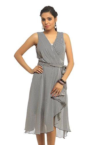 Ladybug Women's Evening Wrap Dress Small Grey
