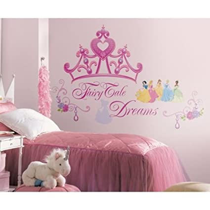 Amazon.com: New BLUENew DISNEY PRINCESS CROWN WALL DECALS Girls ...