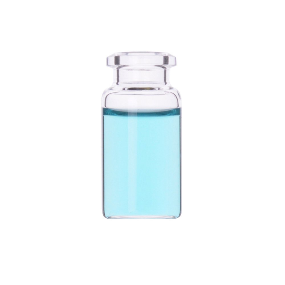 Wheaton W225282 Borosilicate Glass Clear Flat Bottom Headspace Vial, Beveled Finish, 10ml Capacity (Case of 100) by Wheaton