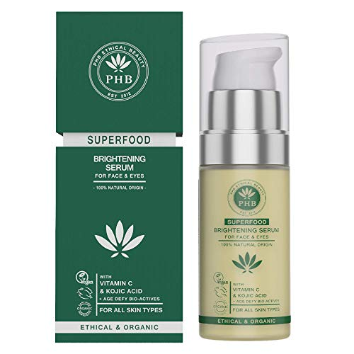 Eye & Face Serum with Kojic & Hyaluronic Acid by PHB Ethical Beauty. A 2-IN-1 Organic Serum for Face Brightening, Whitening & Firming. Reduces Dark Circles, Eye Puffiness and Wrinkles. 30 ml ()