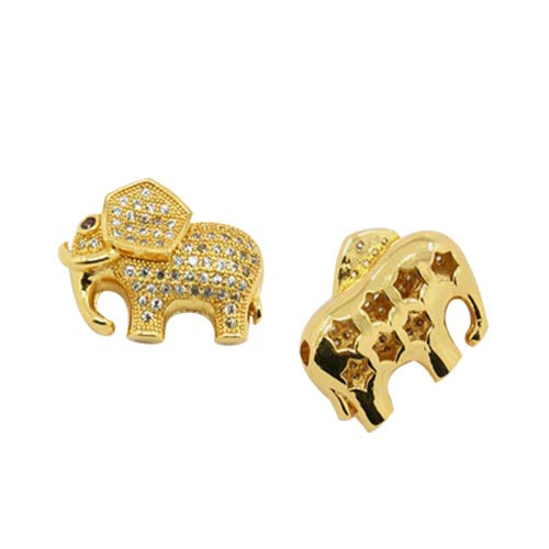 PH PandaHall 10pcs 2mm Elephant Cubic Zirconia Beads Hollow Brass Cubic Zirconia Bead Charms Golden for Jewelry Making Necklaces Bracelets Earrings ()
