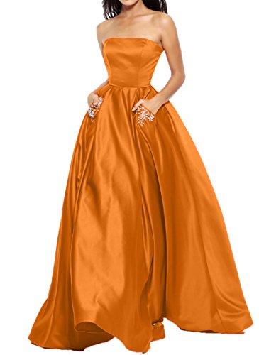 Charmant Wassermelon Kleider Jugendweihe Brautjungfernkleider Dunkel Satin Langes Orange Abendkleider Partykleider Damen SZSfwr