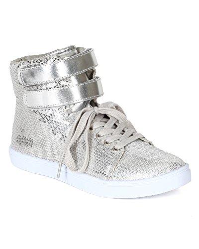 Qupid Be72 Femmes Satin Paillettes Lace Up Velcro Haute Top Fashion Sneaker - Argent