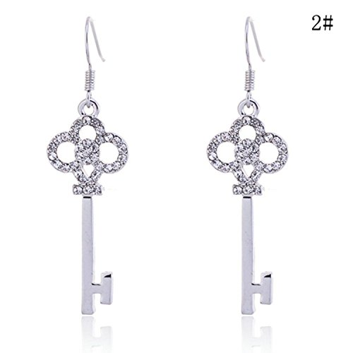 Pave Key (Lureme Pave Crystal Key Shape Silver Tone French Hook Drop Earrings for Women and Teen Girls 2002323-2)